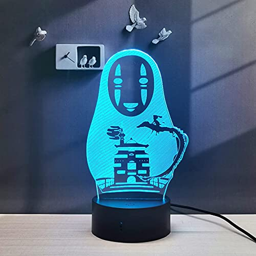 Spirited Away No Face 3D LED Anime Lamp Table 16 Colors Change Remote Control Kids Bedroom Night Light