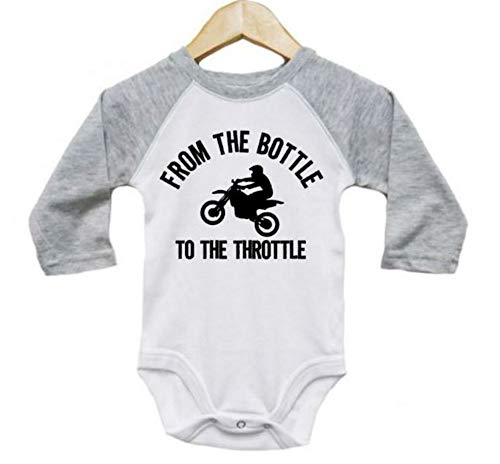 Ebenezer Fire Motocross Onesie/from The Bottle to The Throttle/Baby Dirt Bike Outfit/Raglan (3-6M, Grey)