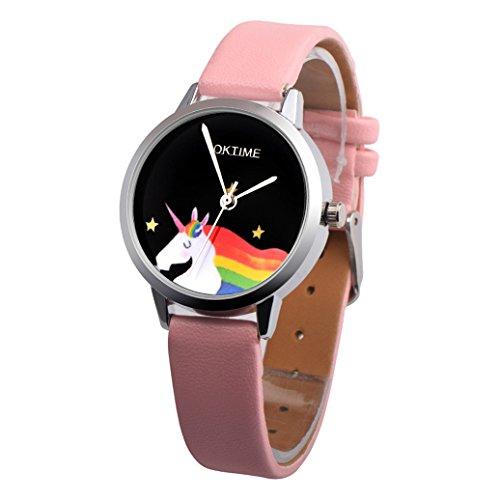 Reloj de pulsera infantil, redondo, diseño de unicornio, piel sintética, movimiento de...
