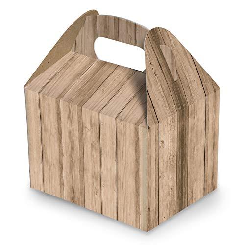 10 Stück Schachtel Lunchbox Geschenk-Karton hell-braun Holz-Optik 18,5 x 12,5 x 12 cm Geschenkschachtel Verpackung Weihnachten Geschenke Präsentbox Geschenkbox Präsentschachtel