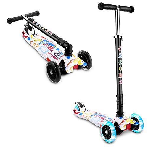 Caroma - Patinete de 3 ruedas para niños y niñas y niños, 3 alturas ajustables, 3 ruedas de PU LED intermitentes con aleación de aluminio para niños de 2 a 8 años