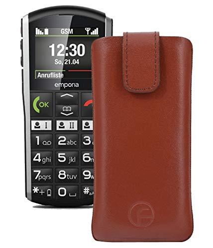 Favory Tasche Etui kompatibel mit Emporia Simplicity Hülle aus echtes Leder Schutzhülle (Lasche mit Rückzugfunktion) in braun