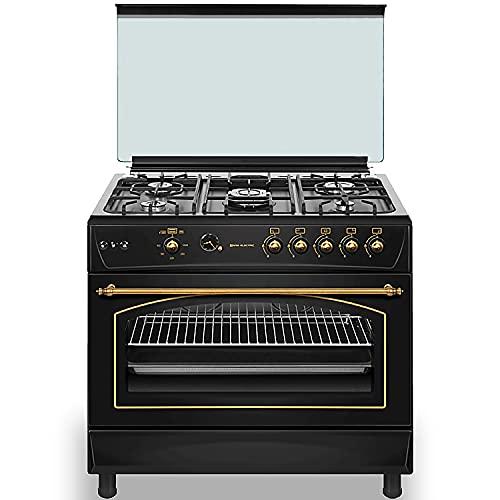 EAS ELECTRIC SMART TECHNOLOGY | EFG9B60X | Cocina de gas Negra | Color Negro | 90 cm | Gas butano y gas natural | Autoencendido | Horno 122 l | Tapa de cristal y aluminio | Válvula FFD | 5 fuegos