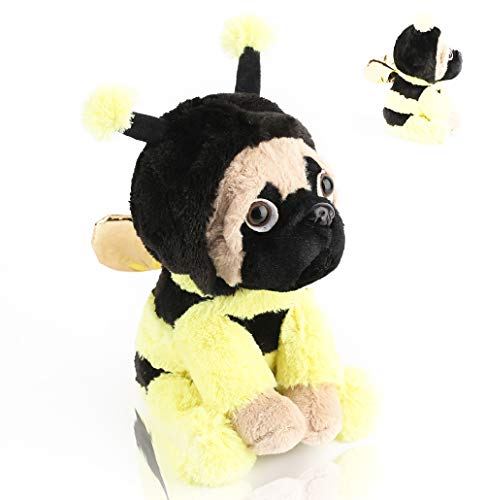 Pugbee Stuffed Animal,Pug Wearing Bee Costume,Plush Soft Dog Puppy Dressed Like Yellow Honey Bee | Funny Toy for Kids or Pug Lovers ,Baby Shower, Gender Reveal Gift,Party Nursery Decors