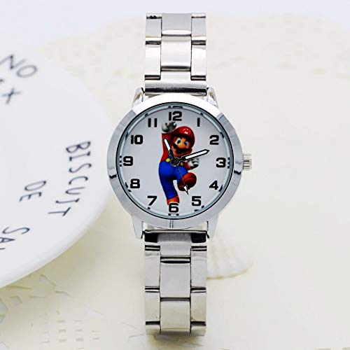 Mario Figura Horologe Mujeres Acero Inoxidable Reloj Niñas Niños Mario Figura Cuarzo Reloj Dibujos Animados Relojes Reloj Femininos Montre Femme