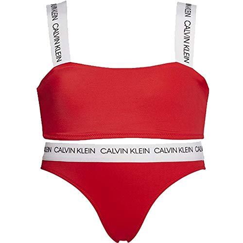 Calvin Klein Mädchen Ck Logo-Swim Bandeau/Bikini Set, Hohes Risiko Hohes Risiko Alter 12-14