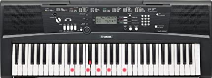 YAMAHA EZ-220 - Teclado digital portátil de iniciación, con 61 teclas retroiluminadas sensibles a la pulsación y 392 voces de alta calidad incorporadas, color negro