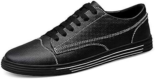 HILOTU Herren Walking Casual Atmungsaktive Turnschuhe Wohnungen Low TopÃleder Leichte Schuhe Anti-Slip Round Toe Schuhe (Farbe   Schwarz Größe   45 EU)