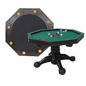 "Berner Billiards 3 in 1 Table - Octagon 48"" Bumper Pool, Poker & Dining in Espresso"