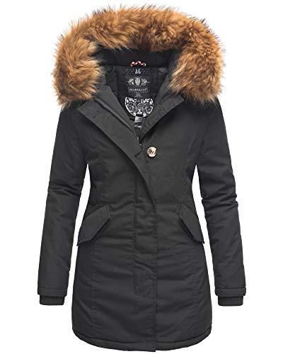 Marikoo Damen Winter Jacke Stepp Parka Mantel Winterjacke warm gefüttert Kunstpelz KARMAA XS-XXL (XS, Schwarz-2)