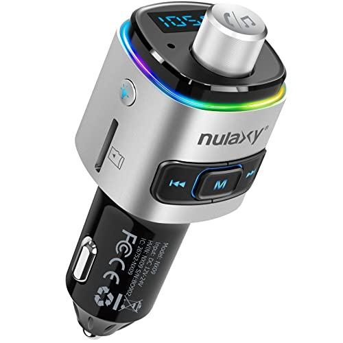 Nulaxy Bluetooth FM Transmitter für Auto, Bluetooth Adapter Auto mit QC3.0, 7-farbige LED, Unterstützung von Siri Google Assistant/USB-Flash-Laufwerk/microSD-Karte/Freisprechanruf-NX09