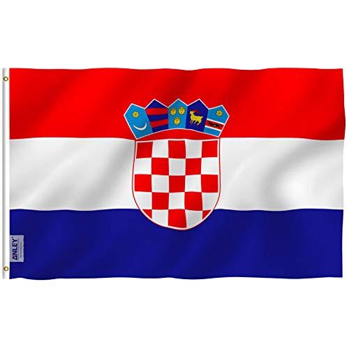 ANLEY Fly Breeze 3x5 Foot (90x150 cm) Kroatië Vlag - Levendige Kleur en UV Vervagend - Canvas Koptekst en Dubbel Gestikt - Kroatische Vlaggen Polyester met Messing Grommets 3 X 5 Ft
