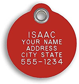LuckyPet Pet ID Tag - Round - Custom Engraved Dog & cat ID Tags. Pet Safety tag has Reflective Coating and is Available in Plastic, Stainless Steel and Brass.