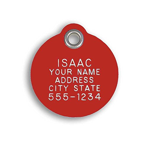 LuckyPet Pet ID Tag - Medium Round Red Plastic Tag - Durable, Easy to Read, Custom Engraved for Dogs & Cats. Reflective Coating on Back.