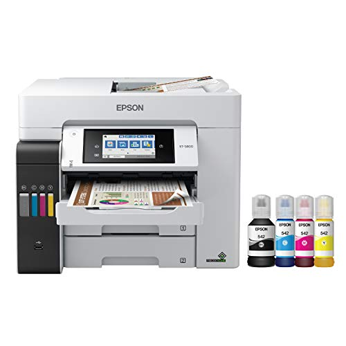 Epson EcoTank Pro ET-5800 Wireless Color All-in-One Supertank Printer with Scanner, Copier, Fax and Ethernet Plus 2 Years of Unlimited Ink, Works with Alexa