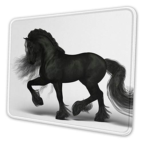Friesian Horse Mouse Pad Gaming Mouse Pad Anti Slip Neoprene Base with Stitched Edge Computer Pc Mousepad for Home Office