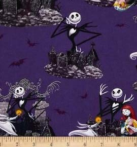 1/2 Yard - Nightmare Before Christmas Scenic on Purple Cotton Fabric - Officially Licensed (Great for Quilting, Sewing, Craft Projects, Throw Blankets & More) 1/2 Yard X 44'