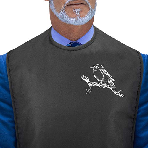 Adult Bibs for Eating: Reusable Adult Size Bib for Women and Men - Machine Washable Waterproof Clothing Protector with Crumb Catcher - Chickadee Bird Edition (Black)