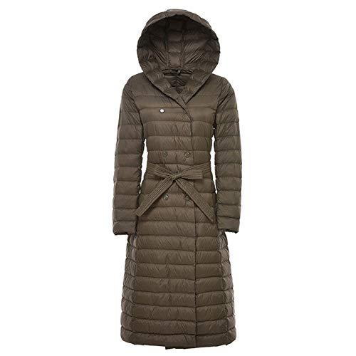 LINXYU Frauen-Winter-Lange Mit Kapuze Ultraleichte Warme Daunenjacke Mit GüRtel,ArmyGreen,XXL