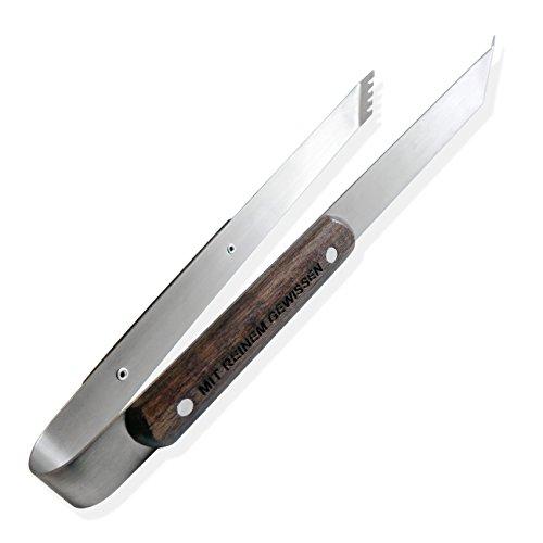 Diamandi Grill-Zange mit Gravur | Personalisierter Holz-Griff aus Birke | mit Namen gravieren Lassen | Für Grill-Meister | BBQ-Zange