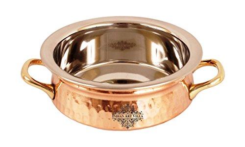 Indianartvilla Pince de cuivre en acier avec poignée |500 Ml| pour servir plats Daal Curry Maison Hôtel Restaurant Vaisselle