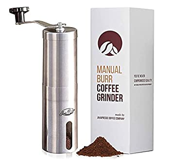 JavaPresse Manual Coffee Grinder with Adjustable Settings - Patented Conical Burr Mill & Brushed Stainless Steel Whole Bean Burr Coffee Grinder for Aeropress Drip Coffee Espresso French Press