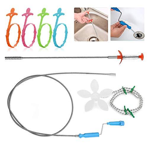 Ledeak Abfluss Schlange Haar Reinigung Werkzeug Set, 7 Stück Haar Ablauf Verstopfen Entferner Reinigung Tool für Küche Spüle Bad Wanne WC