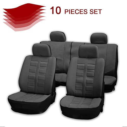 cciyu Gray Polyester Car Seat Cover,Washable Auto Covers Two-Tone Accent Replacement fit for Most Cars, Split Bench
