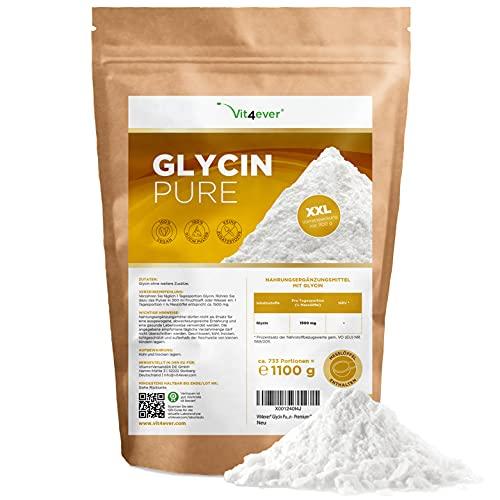 Vit4ever® | Glycine | Pure | 1,1 kg | 733 porties | 100% Glycine-aminozuur | Veganistisch