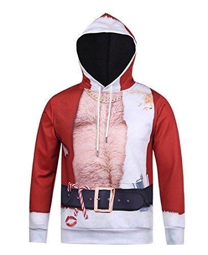 Honeystore Unisex 3D Druck Kapuzenpullover Weihnachtsmann Sweatshirt Weihnachten Langarm Top Shirt Herbst Spaß Hoodie Rot-02 L