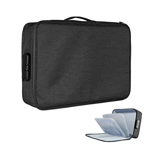 QUMENEY Bolsa de archivo de múltiples capas de gran capacidad, organizador de documentos de tela impermeable con cerradura para viajes, negocios, hogar (negro)