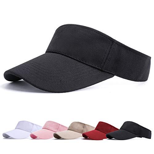 BLURBE Unisex Visera- Visor Gorras, 1/2 Gorra Deportiva Protección UV Viseras Sombreros para el Sol de Deportes al Aire Libre Golf Tenis Correr para Correr (NegroB)