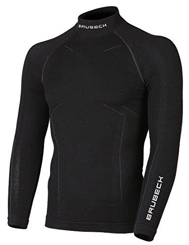 BRUBECK Merino Herren Langarm Shirt | Atmungsaktiv | Winter-Sport | Thermo | Ski-Unterwäsche | Funktions-Unterwäsche | 78% Merino-Wolle | LS11920 L Schwarz
