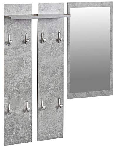 ts-ideen Set Garderobe Spiegel + Wandpaneele Flurgarderobe Kleiderhaken Betonoptik Grau