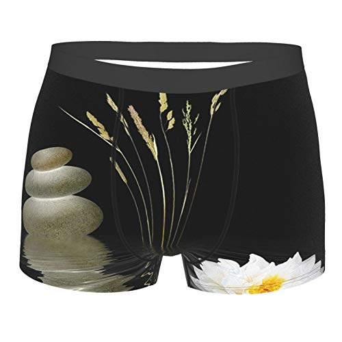 Zen Stone Hot Stones with Asian Lotus Underwear Mens Stretch Classic Fit Boxer Briefs No Ride Up Black