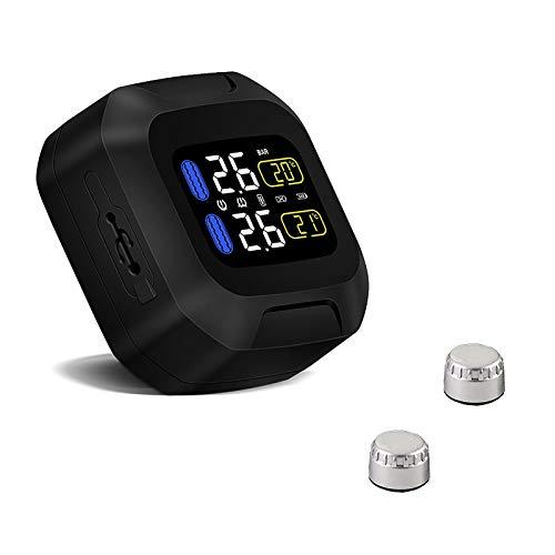 BaiTTang Sistema de monitoreo de neumáticos y Temperatura de neumáticos de la Motocicleta TPMS inalámbrico, IP5K4K Impermeable y a Prueba de Polvo 1.5'LCD Kit de Monitor de Tiempo Real con 2 sensores