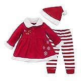 IEFIEL Costume Conjuntos de Tres Piezas Navidad Reyes Disfraces Chaqueta Fiesta Vestido + Pantalones Rayas + Gorro para Bebé Niña A Rojo 12-18 Meses