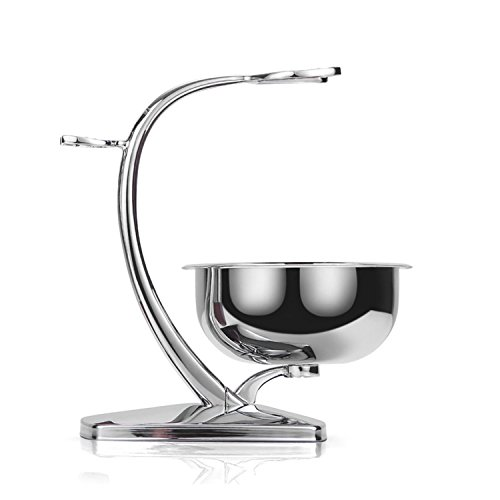 GRUTTI Deluxe Chrome Razor and Brush Stand with...