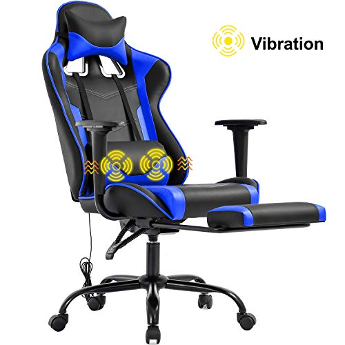 Gaming Chair Office Chair Desk Chair Massage PU Leather Recliner Racing Chair with Headrest Armrest Footrest Rolling Swivel Task PC Ergonomic Computer Chair for Back Support, Blue blue chair gaming