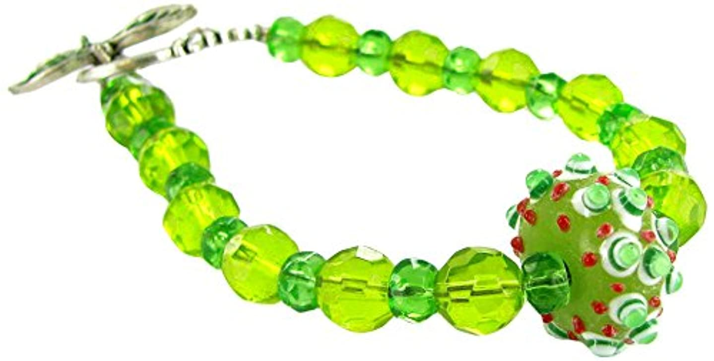 Linpeng Bumpy & Faceted Crystal Beads Fancy Toggle Bracelet, Peridot