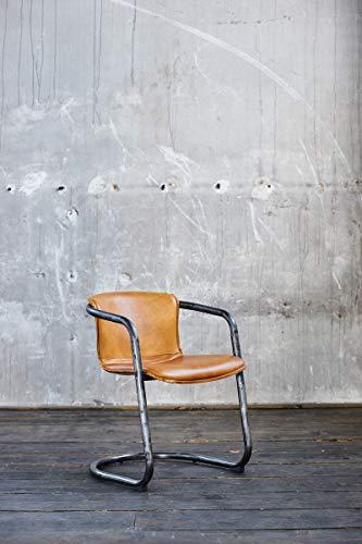 KAWOLA Stuhl Filly Dinnerstuhl Leder Cognac | Echtleder Vintage Lederstuhl | Freischwinger B/H/T: 54/73/61cm