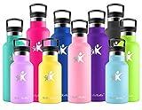 KollyKolla Botella de Agua Acero Inoxidable, Termo Sin BPA Ecológica Reutilizable, Botella Termica con Pajita y Filtro, Water Bottle para Niños & Adultos, Deporte, Oficina, Yoga, (500ml Rosado)