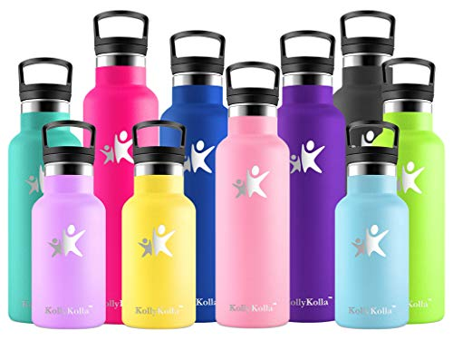 KollyKolla Botella de Agua Acero Inoxidable, Termo Sin BPA Ecológica Reutilizable, Botella Termica con Pajita y Filtro, Water Bottle para Niños & Adultos, Deporte, Oficina, Yoga, (350ml Ro
