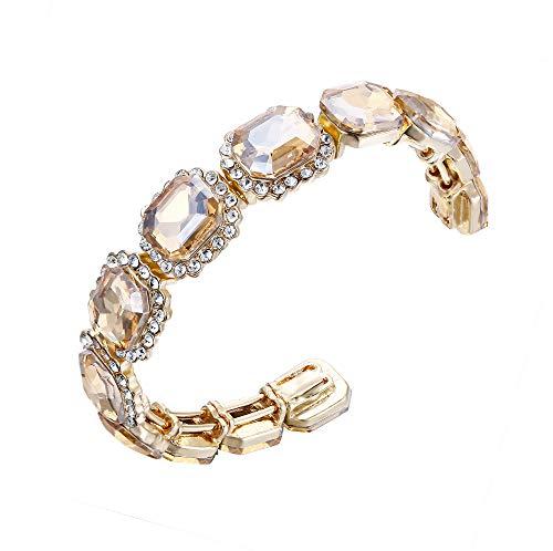 BriLove Wedding Bridal Bangle Bracelet for Women Multi Emerald Cut Crystal Open Stretch Bracelet Champagne Gold-Tone