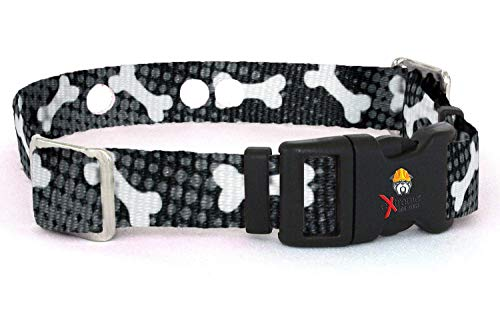 Extreme Dog Fence Replacement Containment and Training Collar Strap for Most Dog Fence Brands - Black Bones (Small: 10' - 12' x 3/4')