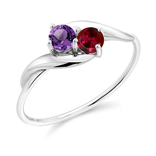 Gem Stone King 10K White Gold Promise Customized Personalized Build Your Own 2 Birthstone For Her Heart Shape Women Engagement Ring (Available in size 5, 6, 7, 8, 9)