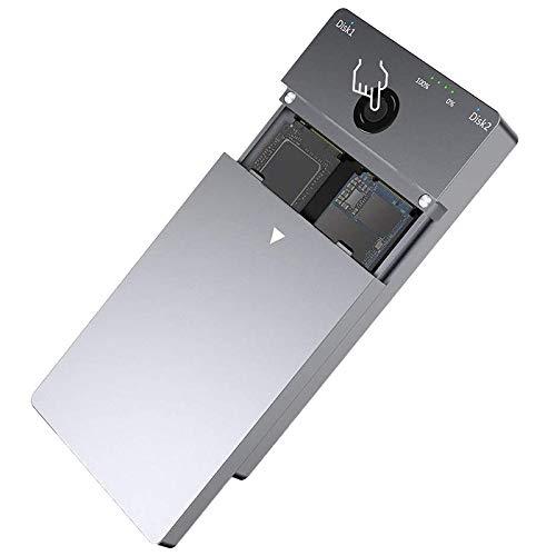 VORA Rocketek M2 SSD-GEH?Use NVME-GEH?Use Offline-Klon- / Duplikatorfunktion M.2 auf USB Typ C 3.1 für NVMe PCIe M.2 SSD, EU-Stecker