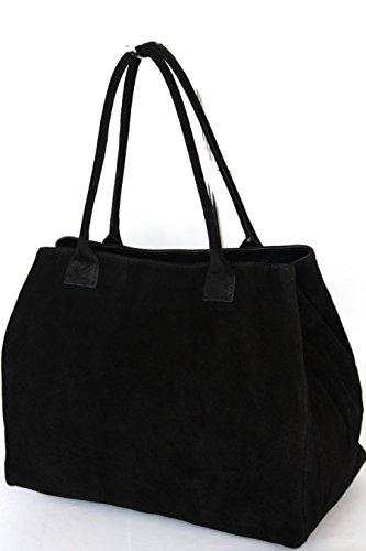 fashion-formel Classic - Bolso de tela de ante para mujer XXL, color negro, talla XXL