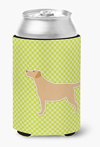 Caroline's Treasures Amarillo Labrador Retriever Tablero de Cuadros Verde Lata o Botella Hugger BB3797CC, Tela, Multicolor