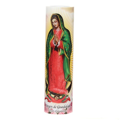 Virgin of Guadalupe LED Flameless Devotion Prayer Candle, Religious Gift, 4 Hour Timer for More Hours of Enjoyment and Devotion! Dimensions 8.1875 x 2.375
